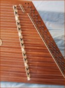 Picture of bass bridge on D45 hammered dulcimer